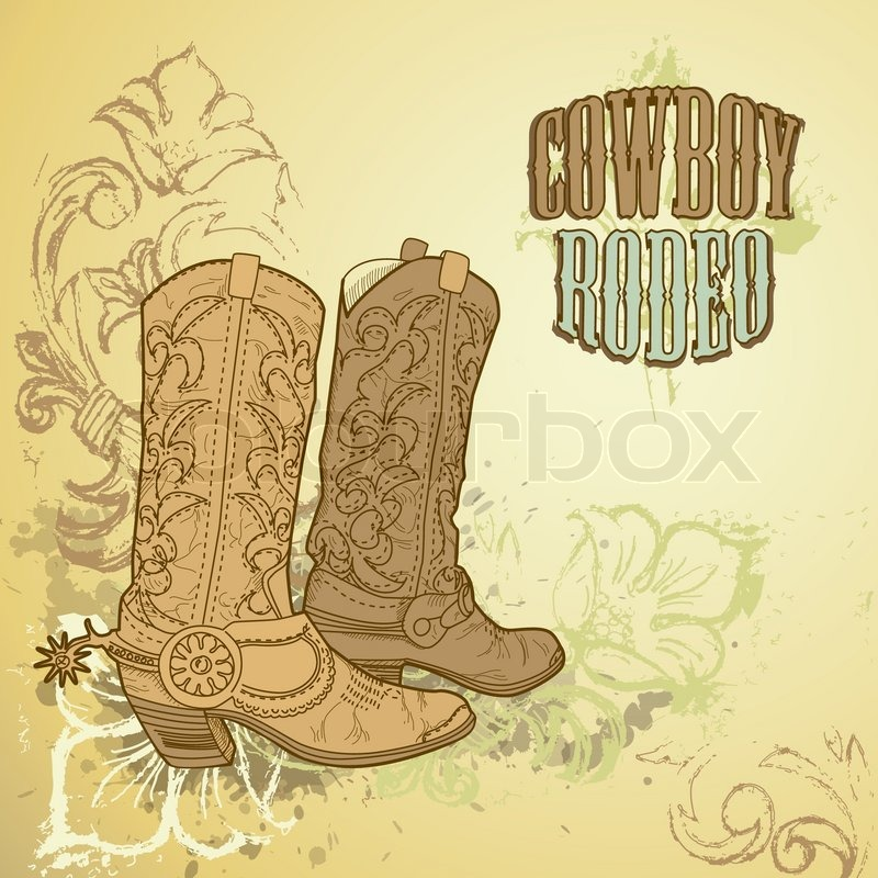 Stock vector of 'Old Cowboy boots'