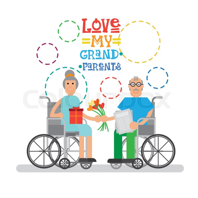 Grandparents couple on wheel chair happy grandmother and grandfather grandparents couple on wheel chair happy grandmother and grandfather day greeting card banner vector illustration stock vector colourbox m4hsunfo