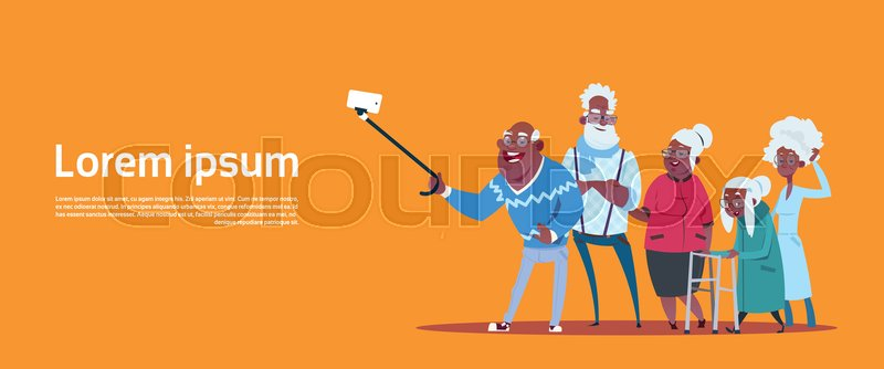 Group Of Senior People Taking Selfie Photo With Self Stick Modern African American Grandfather And Grandmother Flat Vector Illustration, vector