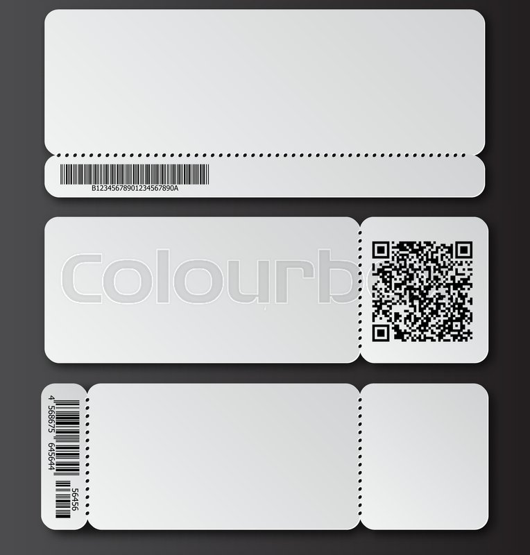 White ticket template with tear-off element, barcode and QR code ...