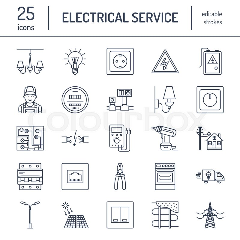 Electricity engineering vector flat line icons. Electrical equipment ...