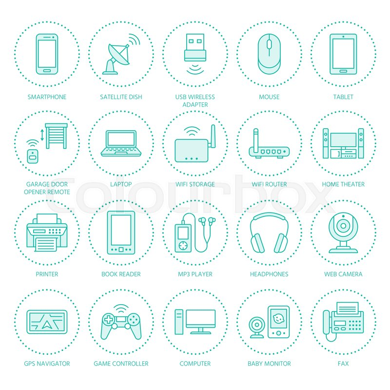 Wireless devices flat line icons wifi internet connection wireless devices flat line icons wifi internet connection technology signs router computer smartphone tablet laptop printer satellite keyboard keysfo Images