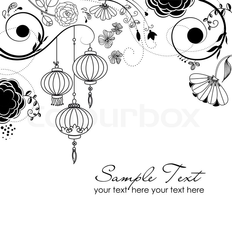 stylish floral background with chinese lanterns