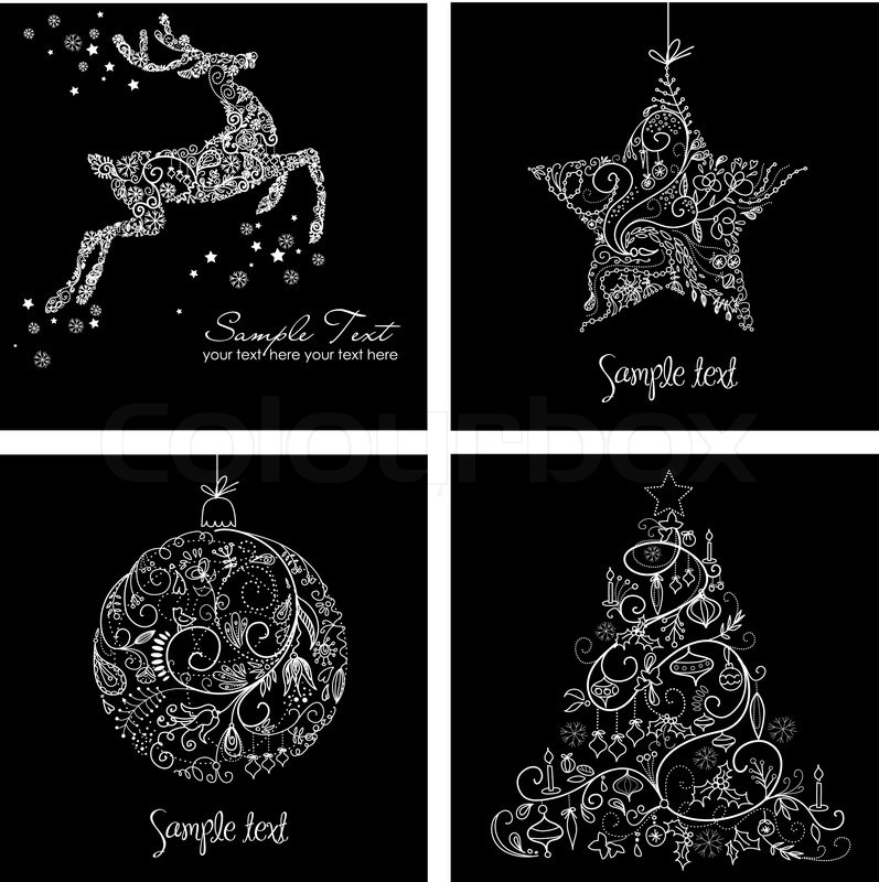 black and white christmas cards stock vector colourbox