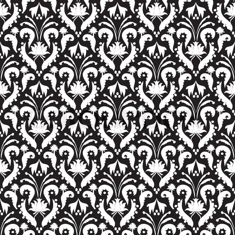 Seamless background black and white vector illustration for Papier peint baroque noir et blanc