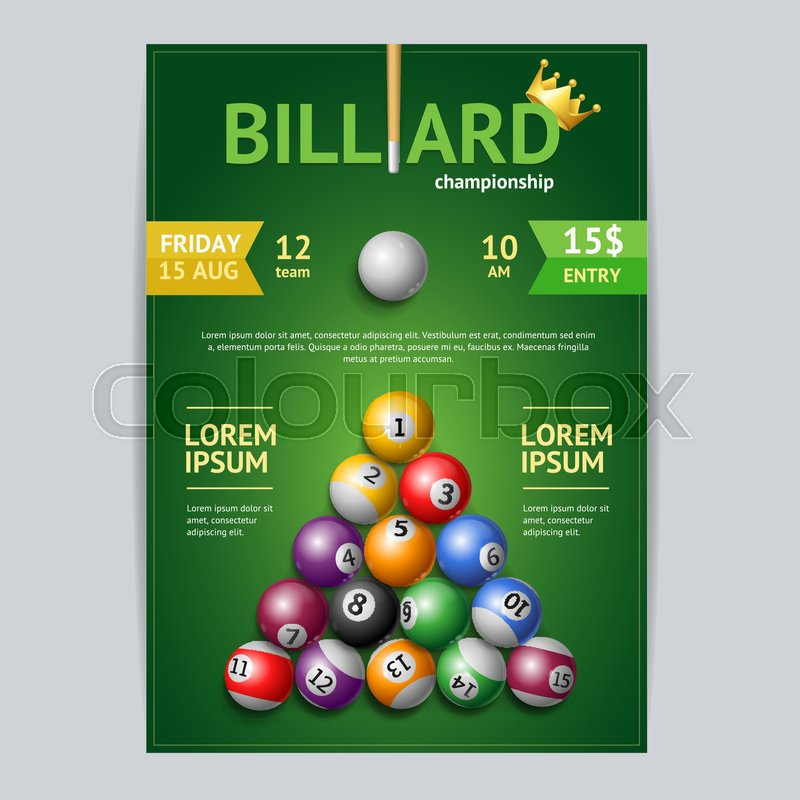 Billiard Tournament Poster Card Template Cue In A Pool Table Vector - Competition pool table