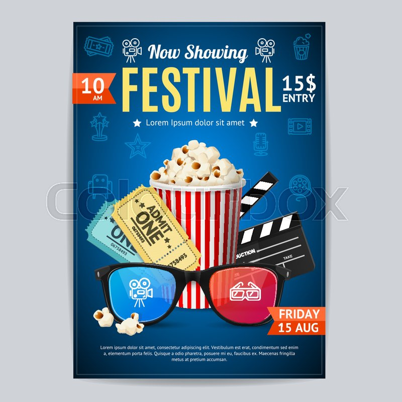 Cinema movie festival poster card template include of popcorn cinema movie festival poster card template include of popcorn ticket and clapper vector illustration of premiere film invitation vector stopboris Image collections