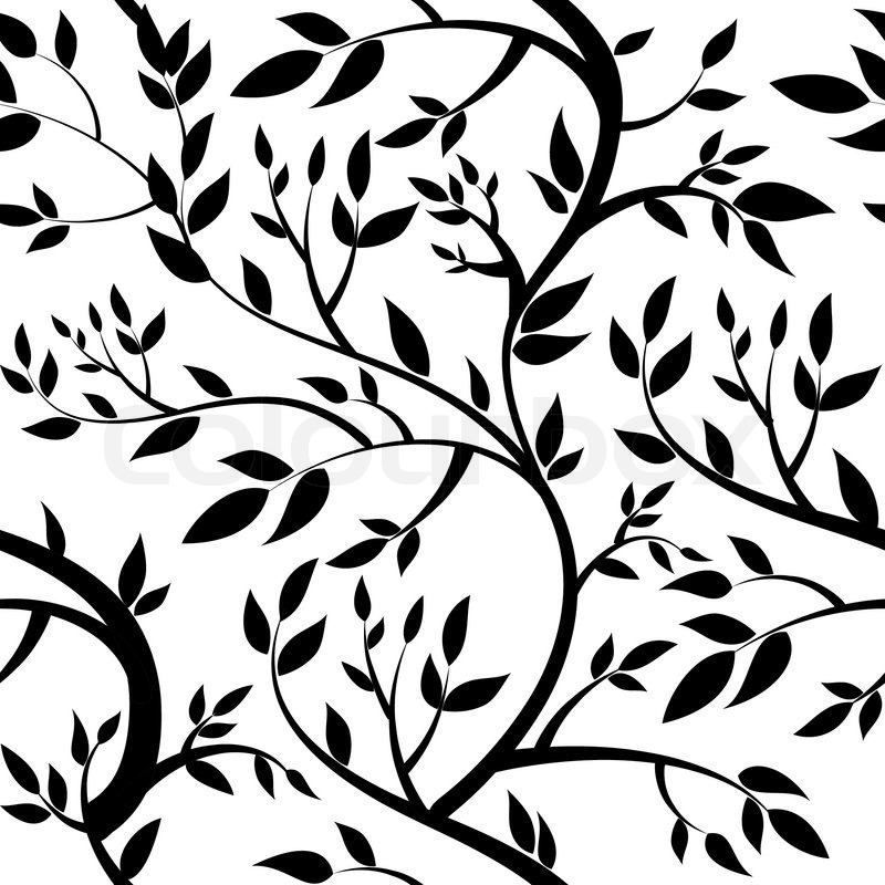 seamless wallpaper black leaves
