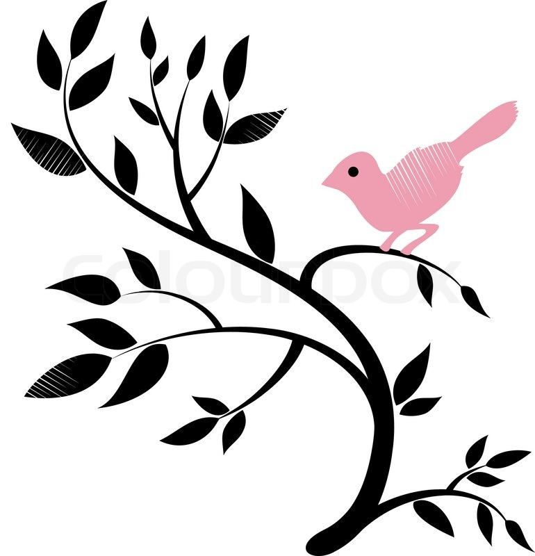 vector design of a bird on a tree stock vector colourbox