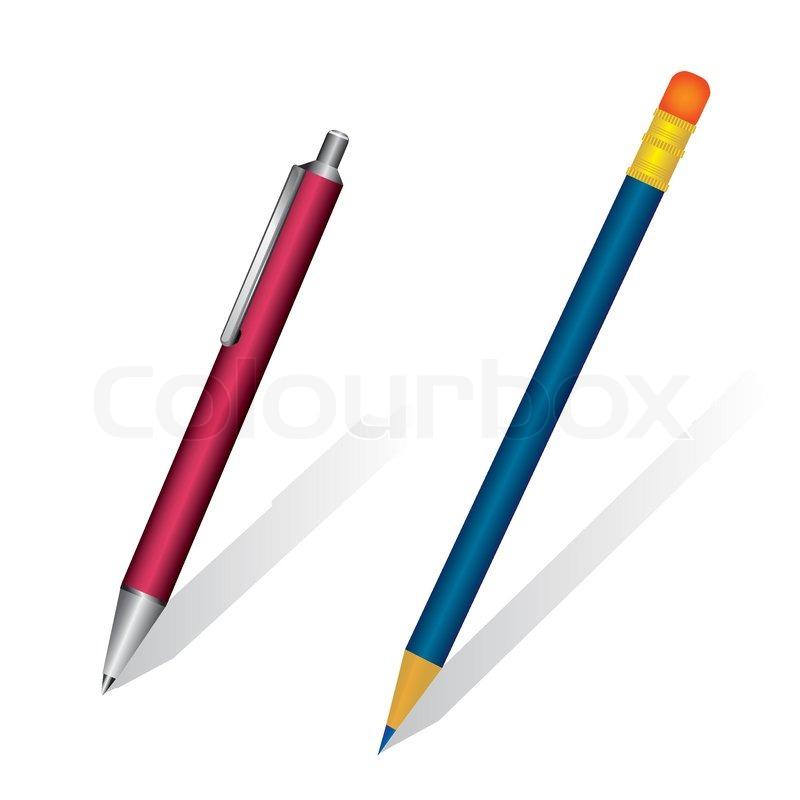 a set of pen and pencil vector illustration stock vector free printable school supplies clipart school supply clipart free