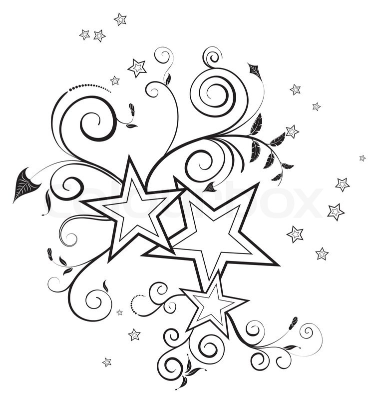 Star Flower Drawing Flower Background With Stars