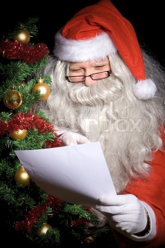 Santa Claus Read Letter Stock Photo Colourbox