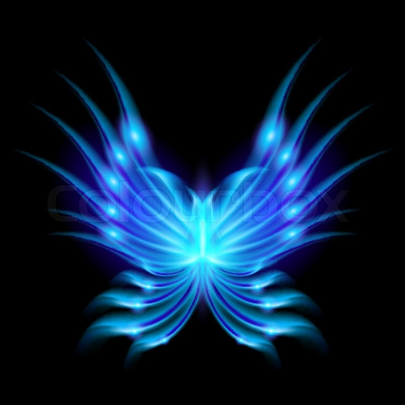 Blue Flying butterfly with fiery wings Abstract