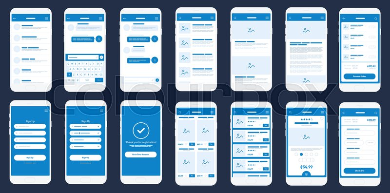 Mobile App Wireframe UI Kit. Detailed wire frame for quick ...