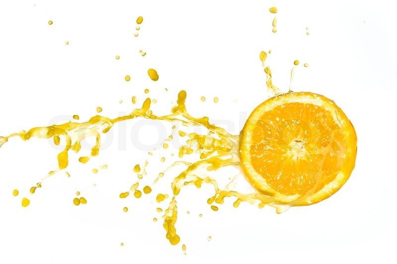 orange juice splash isolated on white background stock