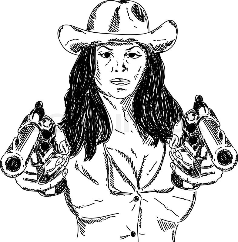 Vector Desperado Girl With Guns Isolated On Background