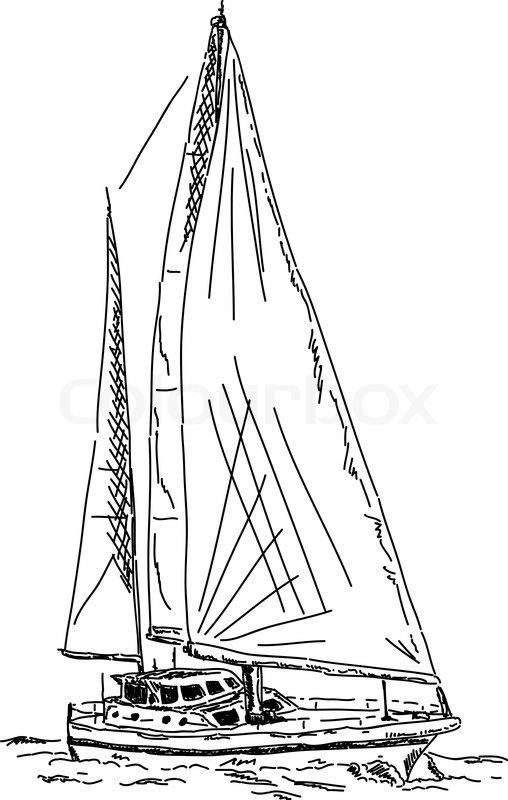 Segelboot zeichnung  Vektor - Segelboot auf dem weißen Hintergrund isoliert ...