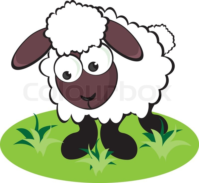 Stock vector of cartoon sheep on the meadow