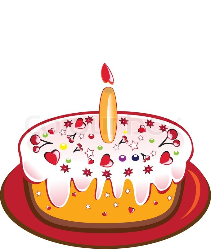Birthday cake with one glowing candle Vector illustration on white