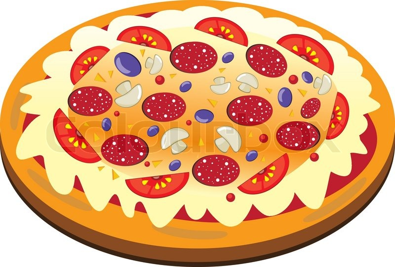 appetizing isolierte pizza auf dem wei en hintergrund vektor illustration vektorgrafik colourbox. Black Bedroom Furniture Sets. Home Design Ideas