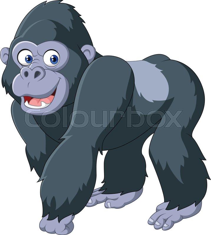 Vector Illustration Of Cartoon Silver Back Gorilla Stock