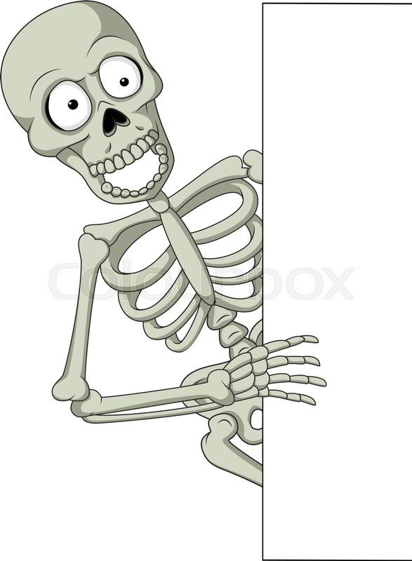 Cartoon Skeleton Holding Blank Sign Drawing Of Hand