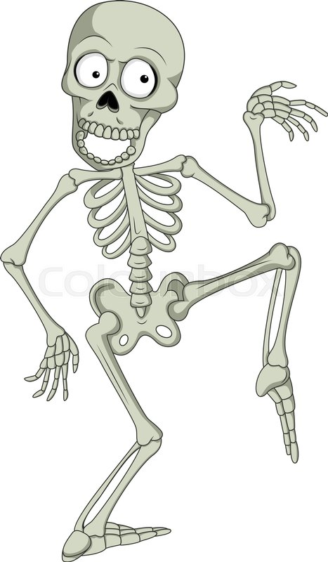 vector illustration of cartoon funny human skeleton dancing stock