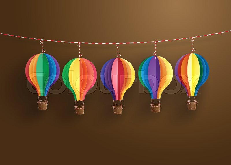 Origami Made Colorful Hot Air Balloonper Art Style Stock