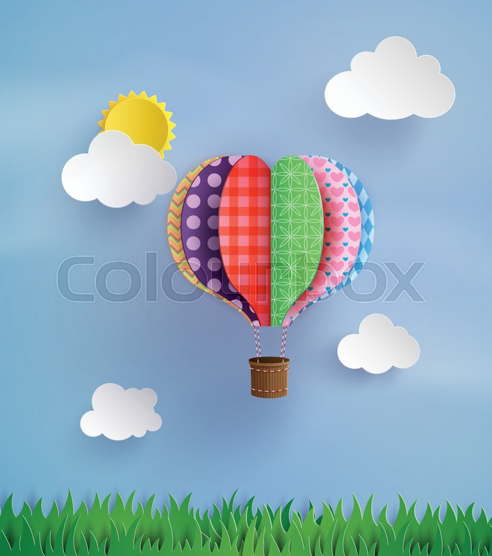 Origami Made Colorful Hot Air Balloon Fly Over Grassper Art Style