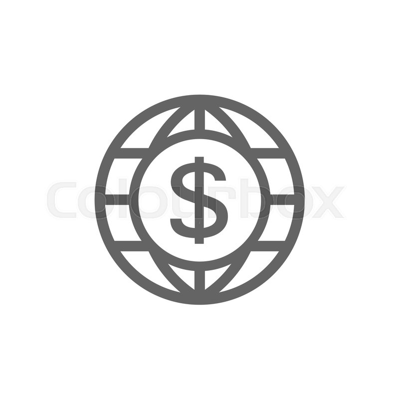 Vector Of World And Dollar Icon Combination Symbol And Sign Vector