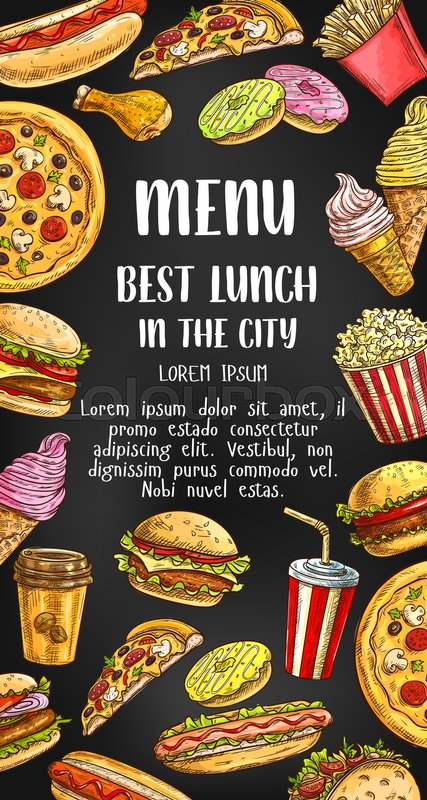 fast food menu design template for lunch meals and fastfood snacks