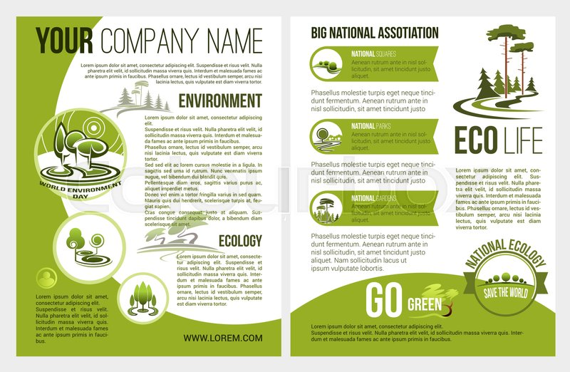 Ecology And Green Environment Association Or Company Brochure Template Vector Design For Eco Gardening Nature Landscape Of Parkland Squares