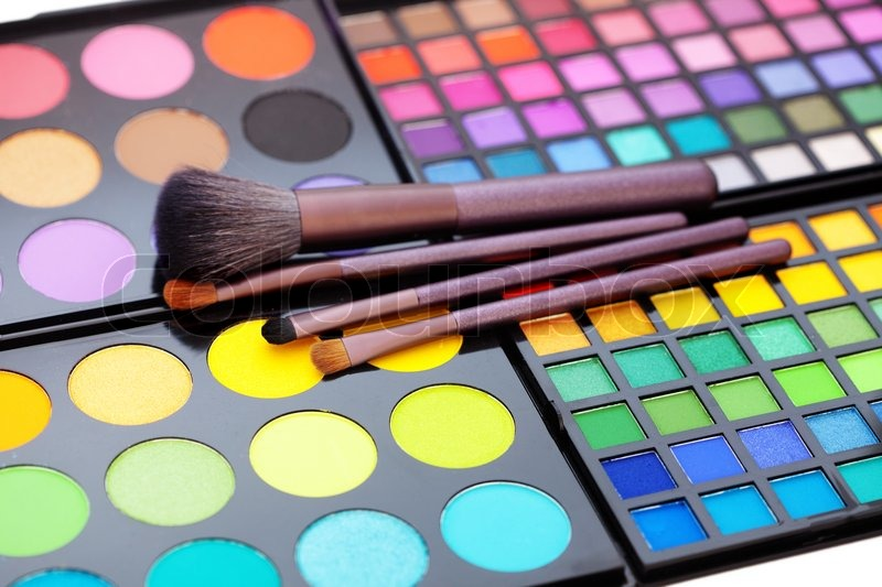 Make-up colorful eyeshadow palette with makeup brushes on ...