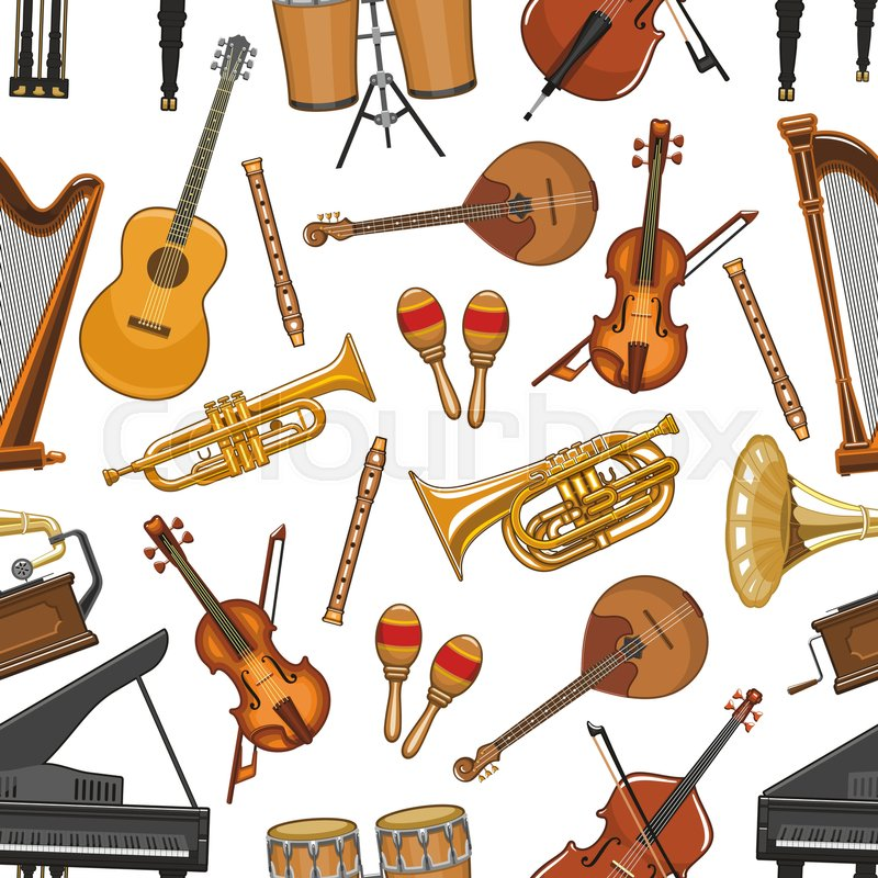 Vector Music Notes For Piano Guitar Or Harp And Jazz Saxophone Orchestra Violin Fiddle Contrabass Maracas Drums Folk Concert Live