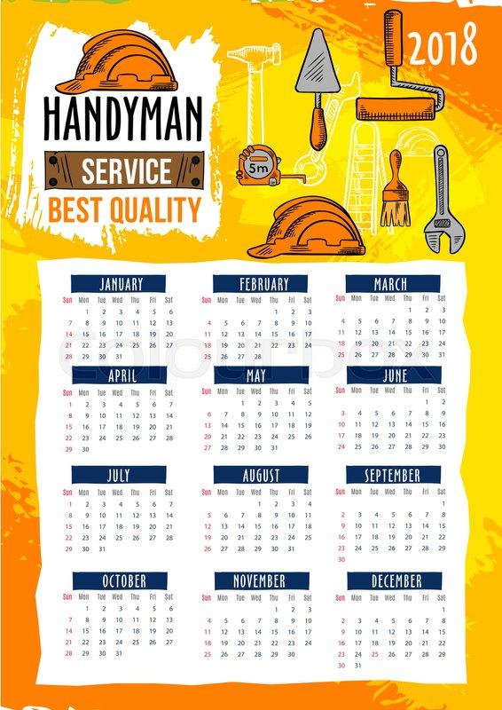 Work Tools Or Handyman Service 2018 Calendar Template Of Repair And