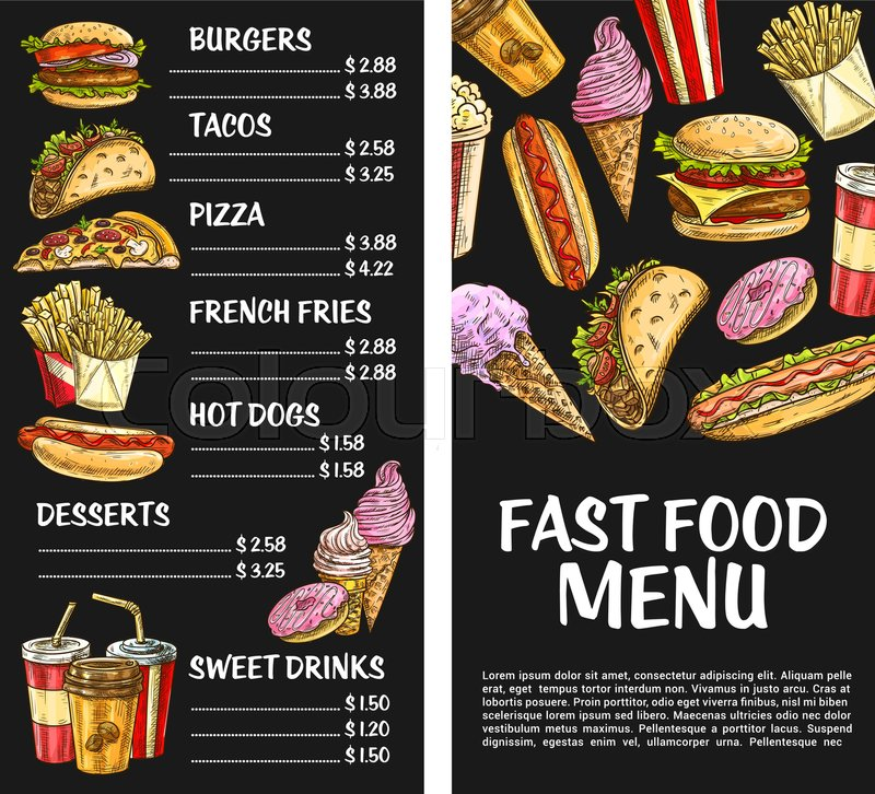 Fast Food Menu Template Vector Price Stock Vector Colourbox
