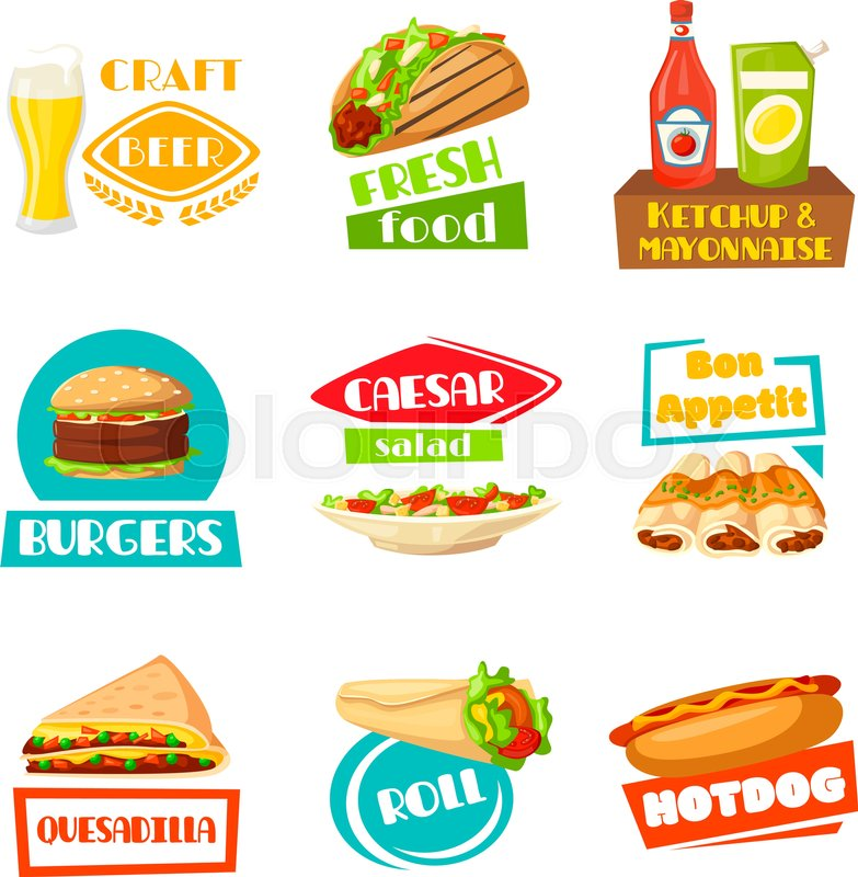 fast food and meals icons for menu template vector isolated set for