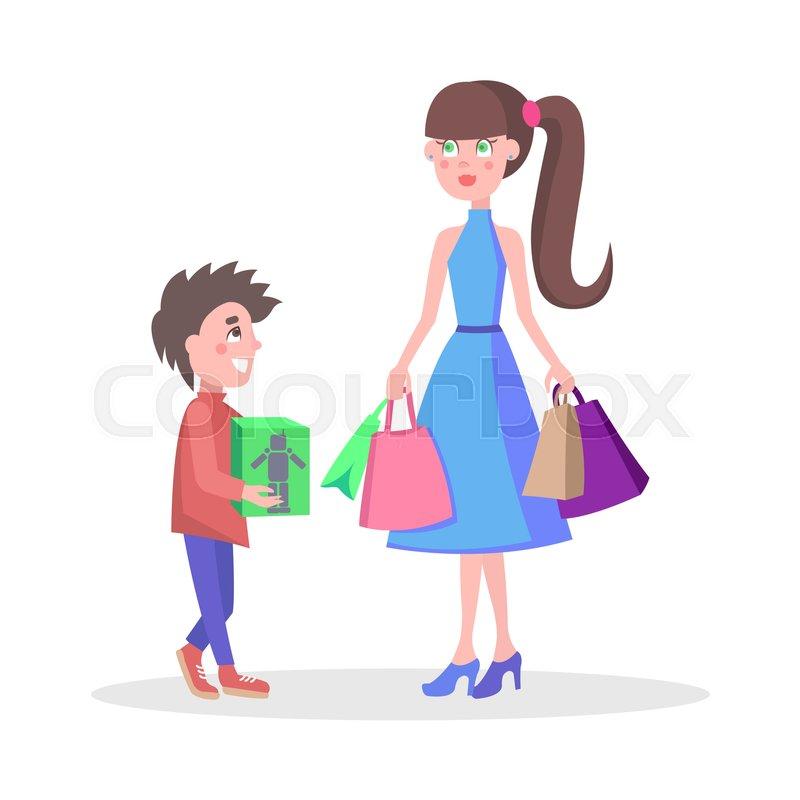 08bdb21c23a7f Family shopping cartoon concept ... | Stock vector | Colourbox
