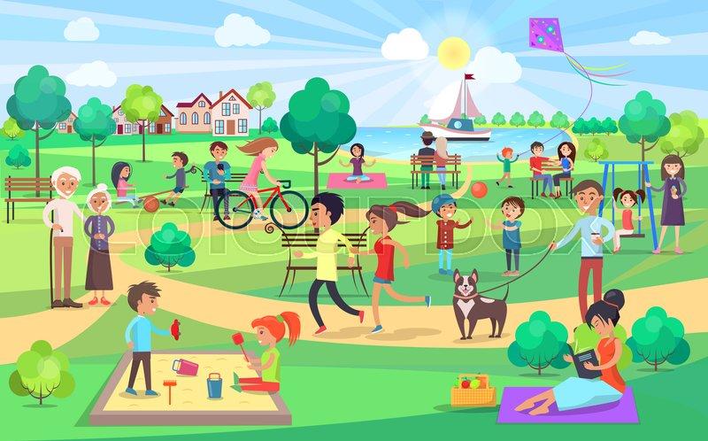 Park, afslapning, lykke | stock vektor | Colourbox