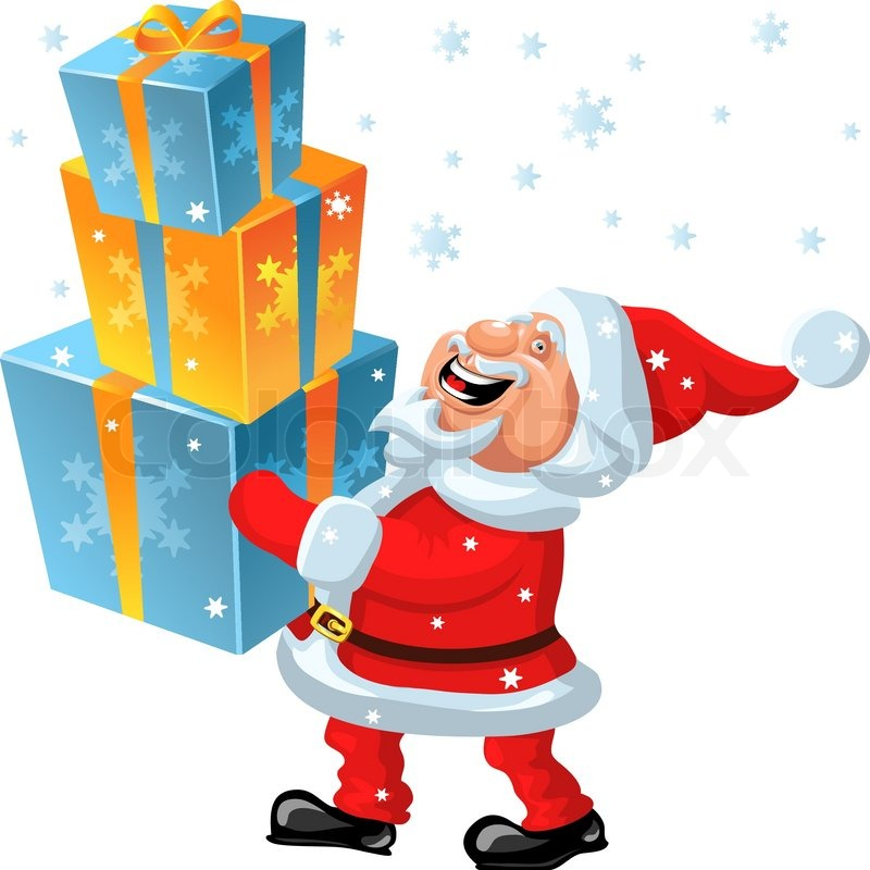 funny cartoon santa claus brings in the hands of many gifts vector - Santa Claus Gifts