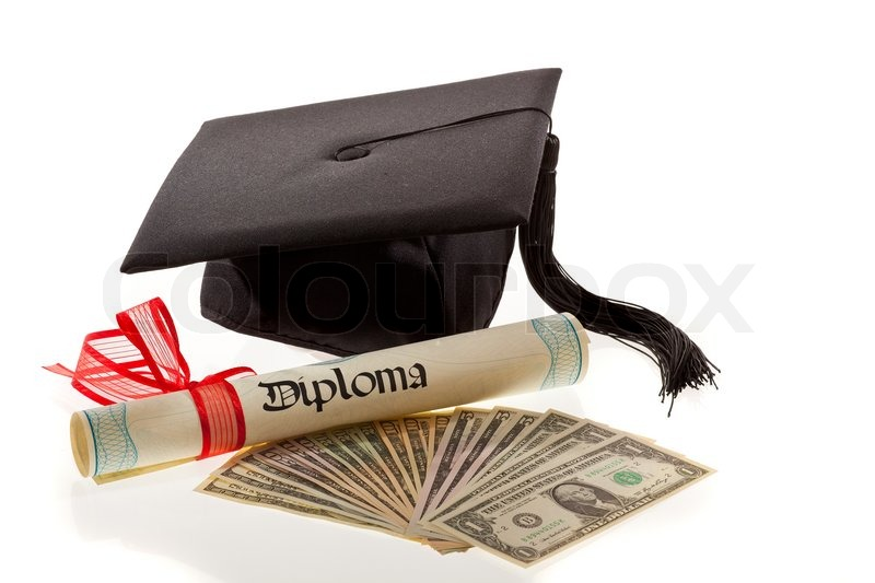 Stock image of 'mortarboard and dollars symbol for education costs in america'