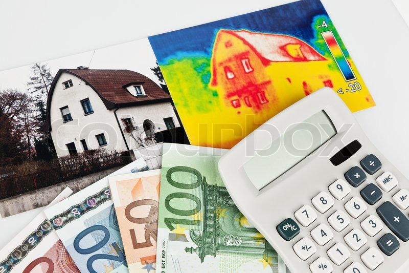 Save energy by insulating house with a thermal imaging camera photographed, stock photo