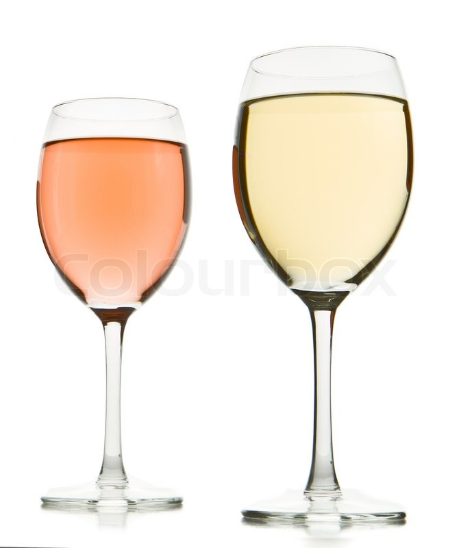 Two Wine Glasses With White And Rose Wine Stock Photo