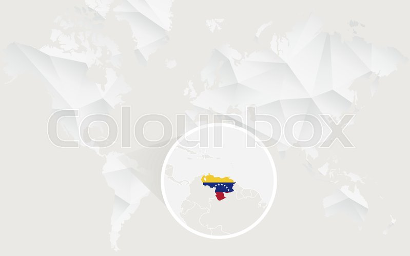 Venezuela map with flag in contour on white polygonal world map venezuela map with flag in contour on white polygonal world map vector illustration stock vector colourbox gumiabroncs Images