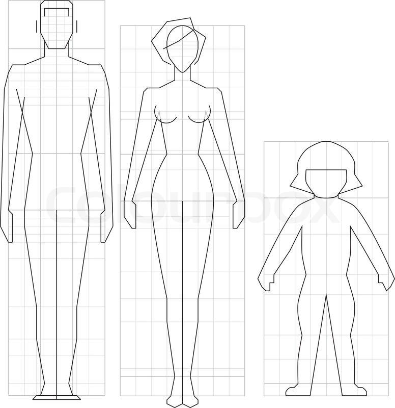 Zeichnen Schaltung Mann, Frau und Kind Körper, Vektor-Illustration ...