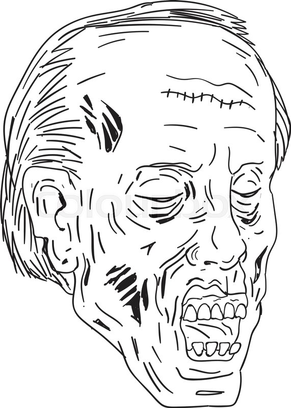 drawing sketch style illustration of a undead zombie with head eyes