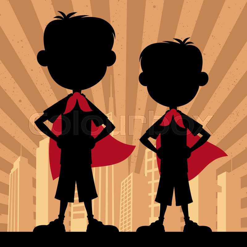 Square banner of 2 super boys. | Stock Vector | Colourbox