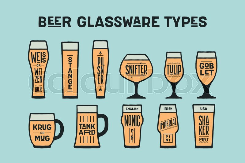 beer glassware types poster or banner with different types of glass