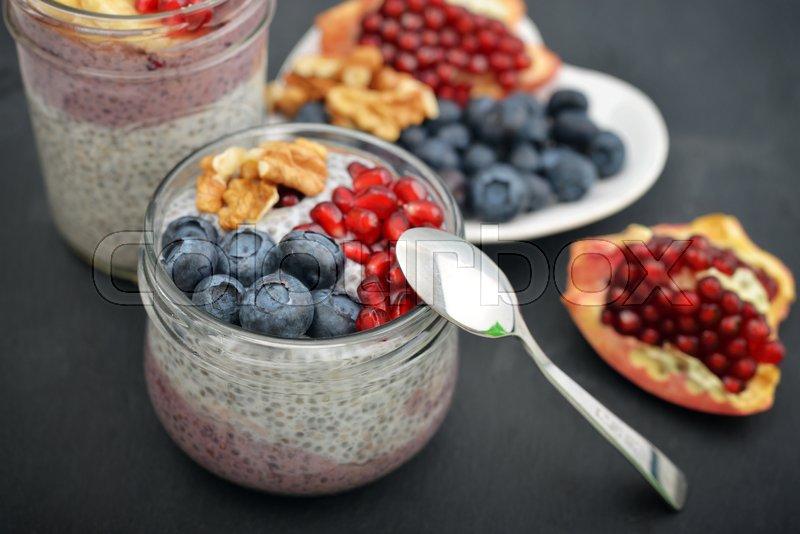 Pudding with chia seeds, yogurt and ...