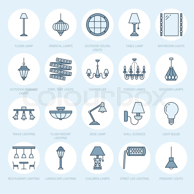 Light fixture lamps flat line icons home and outdoor lighting home and outdoor lighting equipment chandelier wall sconce desk lamp light bulb power socket vector illustration signs for electric interior store workwithnaturefo
